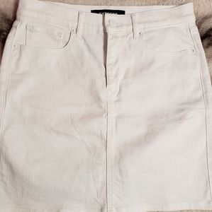 Express white pencil midi high rise jean skirt